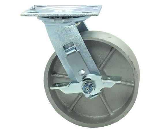 "MAXUM Steel 6"" X 1. 50"" Swivel Caster W/Brake"